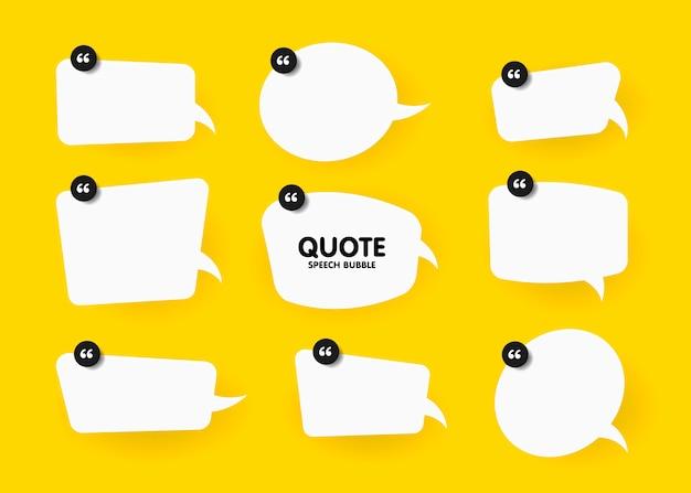Banner, bocadillo, cartel y concepto de etiqueta con texto de muestra. mensaje de burbuja blanca sobre fondo amarillo brillante para banner, cartel. conjunto de ilustraciones