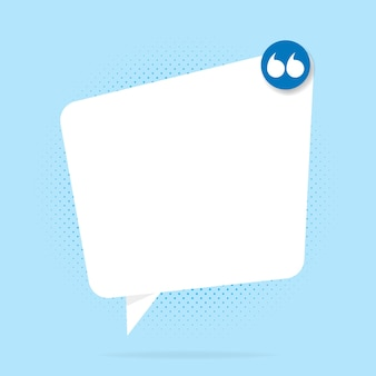 Banner, bocadillo, cartel y concepto de etiqueta con texto de muestra. mensaje de burbuja blanca sobre fondo azul brillante para banner, cartel. ilustración vectorial