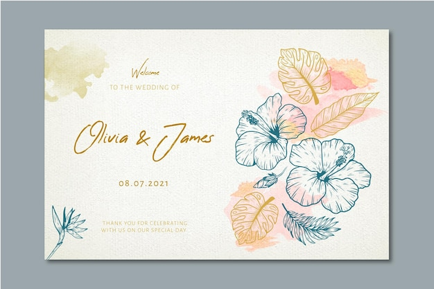 Banner de boda con adornos florales