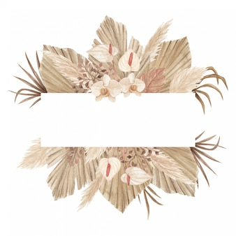 Banner bohemio de acuarela con hojas secas de palma, hierba de pampa, lirio y orquídeas