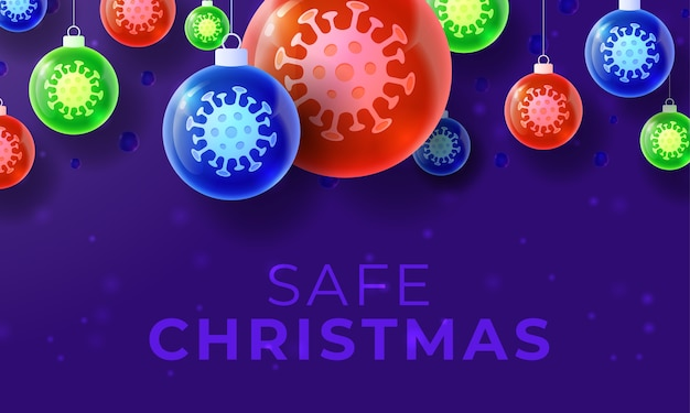 Banner de bola de coronavirus de navidad de cristal.