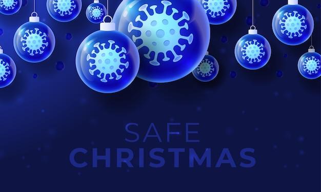 Banner de bola de coronavirus de navidad de vidrio
