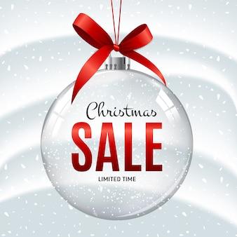 Banner de bola de regalo de venta de navidad y año nuevo