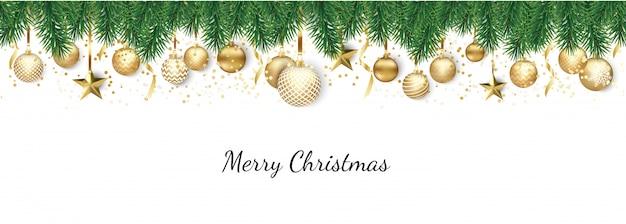 Banner con bolas navideñas y estrellas