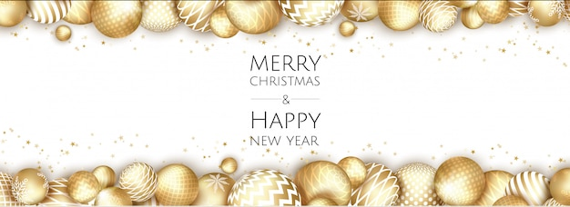 Banner con bolas de oro de navidad