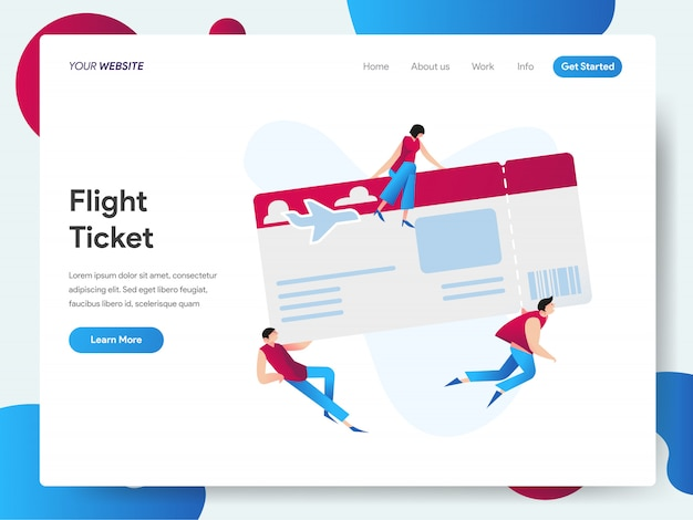 Banner de boleto de vuelo para página de aterrizaje