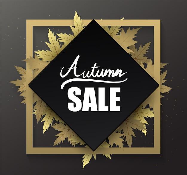 Banner de borde de marco negro otoño con mano escribiendo texto y hoja