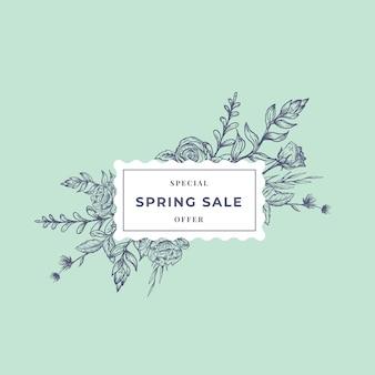 Banner botánico abstracto de venta de primavera o etiqueta con marco floral ractangle.