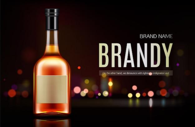 Banner de botella de brandy
