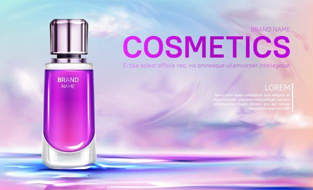 Banner de botella de cosméticos en cielo nublado