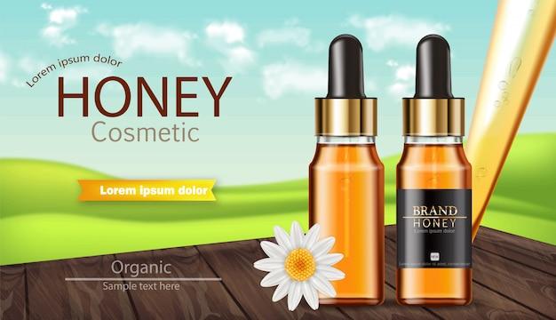 Banner de botella de suero de miel