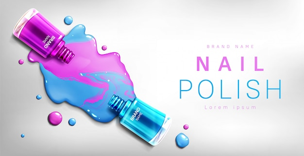 Banner de botellas 3d de esmalte de uñas, publicidad
