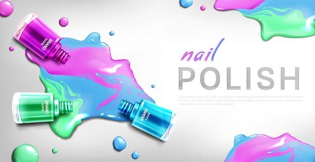 Banner de botellas 3d de esmalte de uñas