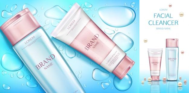 Banner de botellas cosméticas, conjunto de productos de cosméticos de belleza, línea para el cuidado facial en azul con gotas de agua.