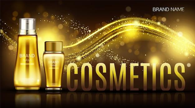 Banner de botellas de cosméticos, crema para el cuidado de la piel