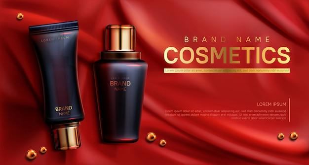 Banner de botellas de cosméticos. cuidado del cuerpo de belleza