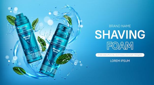 Banner de botellas de cosméticos de espuma de afeitar para hombres con menta