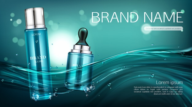 Banner de botellas de cosméticos. locion y suero
