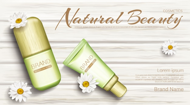 Banner de botellas de cosméticos de manzanilla ecológica