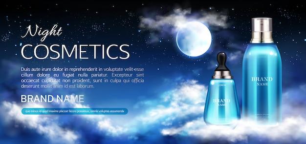 Banner de botellas de cosméticos de noche