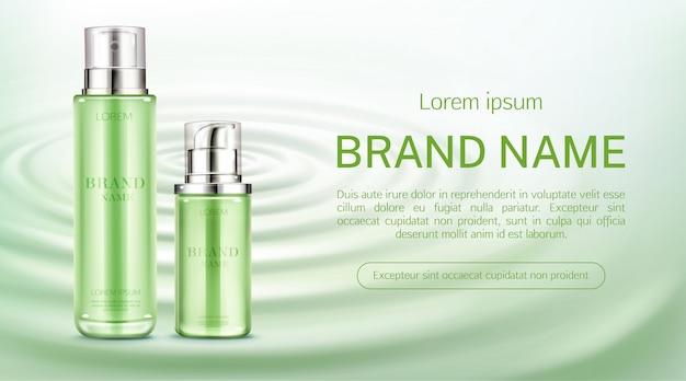 Banner de botellas de cosméticos
