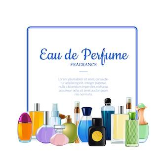 Banner de botellas de perfume de vector