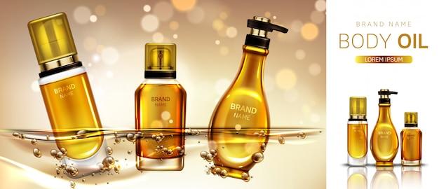 Banner de botellas de productos cosméticos de aceite corporal.