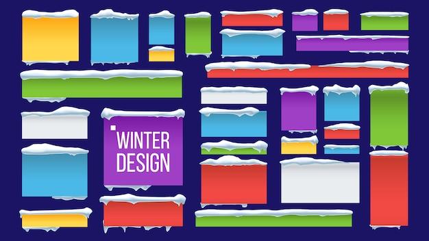 Banner, botón con gorros de nieve
