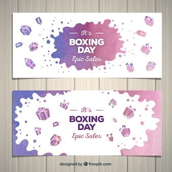 Banner de boxing day con diseño de acuarela