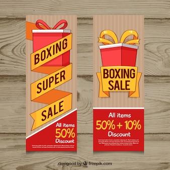 Banner de boxing day con fondo de madera