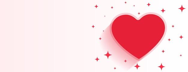 Banner brillante del corazón del día de san valentín con espacio de texto