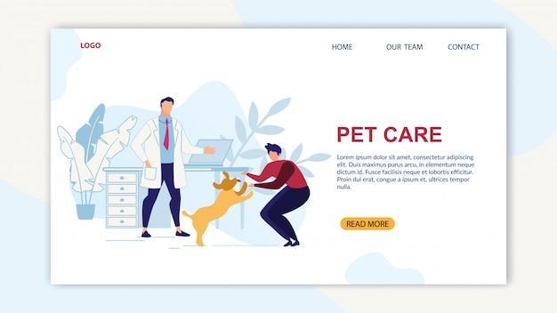 Banner brillante está escrito plano de dibujos animados de cuidado de mascotas.