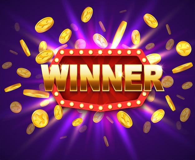 Banner brillante ganador con lámparas y monedas encendidas.
