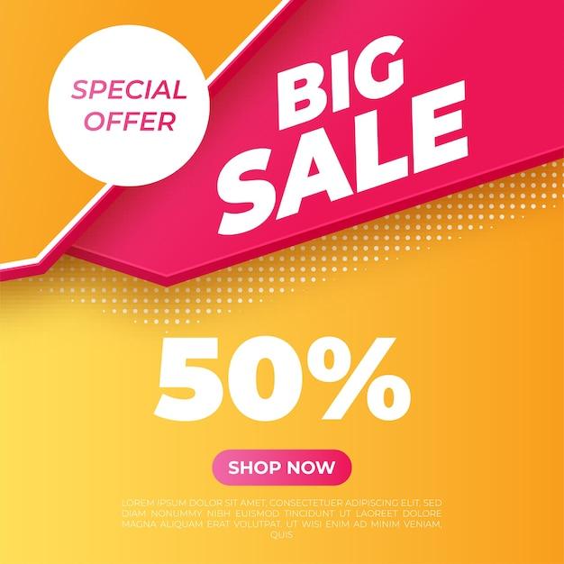 Banner brillante de gran venta. oferta especial. ilustración vectorial