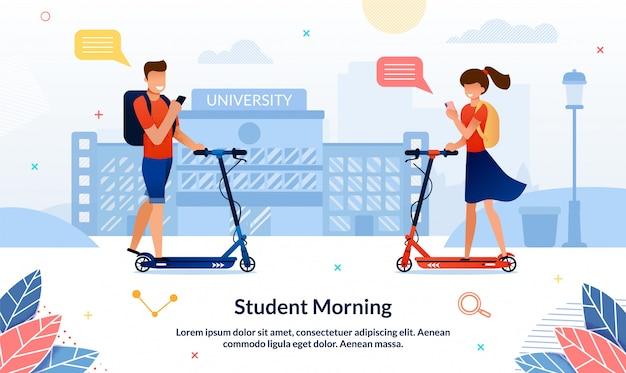 Banner brillante inscripción estudiante mañana, diapositiva.