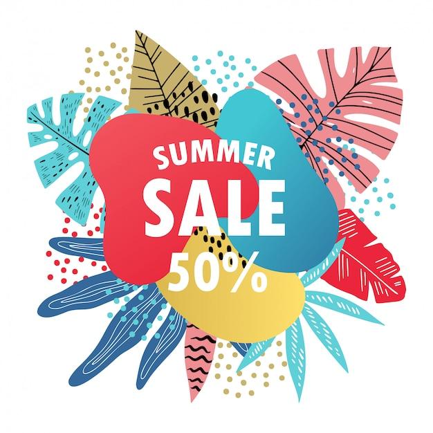 Banner brillante de venta de verano
