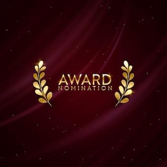Banner de brillo dorado ganador con corona de laurel. fondo de diseño de nominación al premio. plantilla de invitación de lujo de ceremonia de vector, textura de tela abstracta de seda realista, negocio nominado al premio