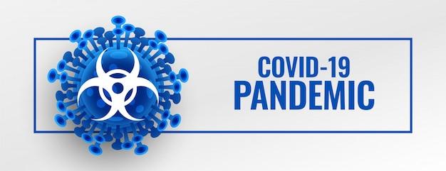 Banner de brote de pandemia de coronavirus con célula de virus microscópico