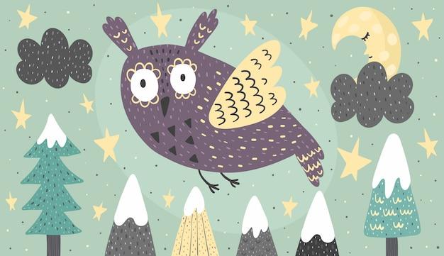 Banner con un búho de fantasía volando por la noche.