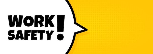 Banner de burbujas de discurso con seguridad en el trabajo. estilo de cómic retro pop art. para negocios, marketing y publicidad. vector sobre fondo aislado. eps 10