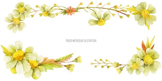 Banner de cabeza de plantas silvestres de prado