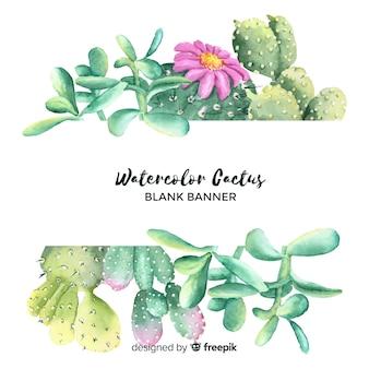 Banner de cactus de acuarela en blanco