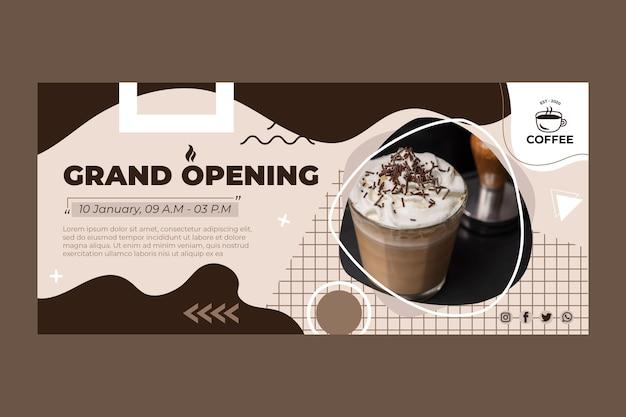 Banner de café de gran inauguración
