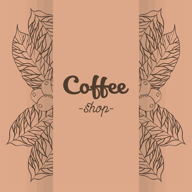 Banner de cafetería con diseño de hojas y frijoles de tiempo, bebida, desayuno, tienda de bebidas