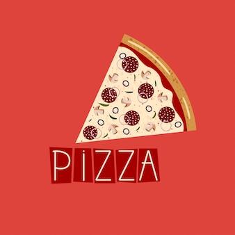Banner para caja de pizza. fondo con rebanada de pizza de pepperoni.