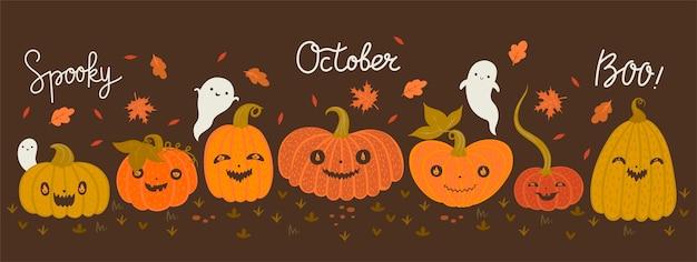 Banner con calabazas de halloween y fantasmas.