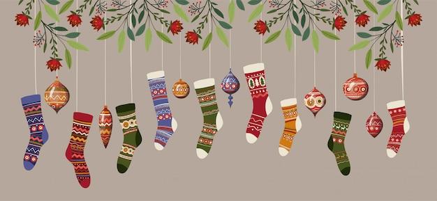 Banner de calcetines y esferas de feliz navidad