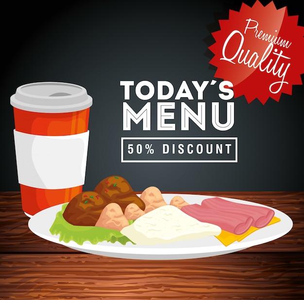 Banner de calidad premium hoy menú cincuenta por ciento de descuento