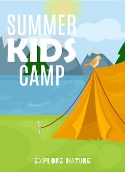 Banner de campamento de niños de verano