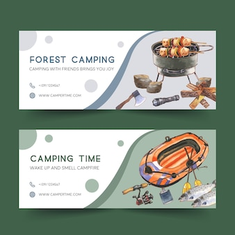 Banner de camping con estufa, bote inflable e ilustraciones de caña